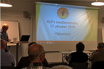 Medlemsmöte med KOF 17 oktober 2019